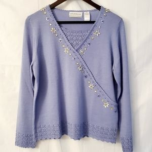 Alfred Dunner PXL Blue Beaded Pullover Sweater
